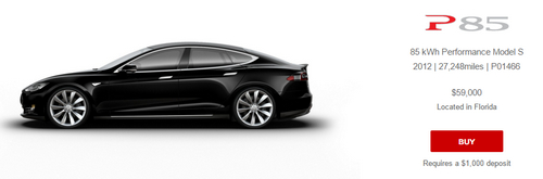 This Tesla P85 originally cost over $100,000. It's available used for $59,000.
